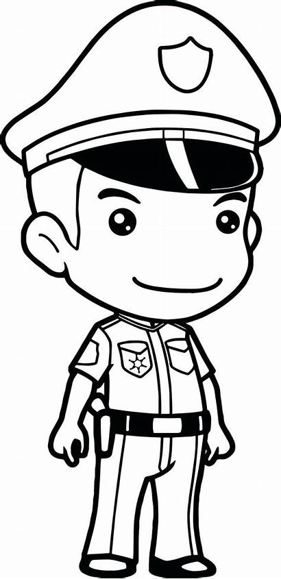 Police Policeman Coloring Officer Pages Cop Printable