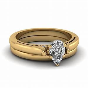 14k yellow gold pear shaped bezel wedding sets engagement With pear shaped wedding ring set