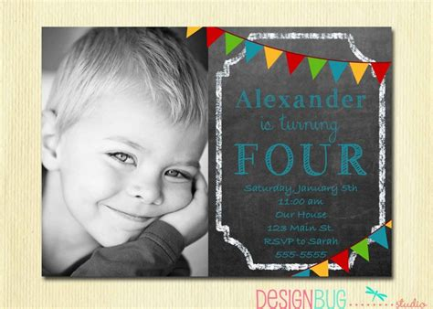 boys chalkboard birthday invitation      year