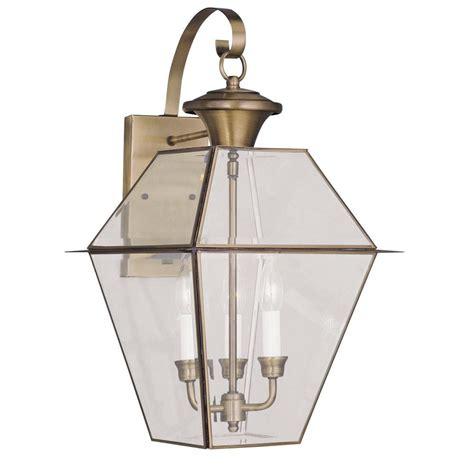 livex lighting 3 light antique brass outdoor wall lantern