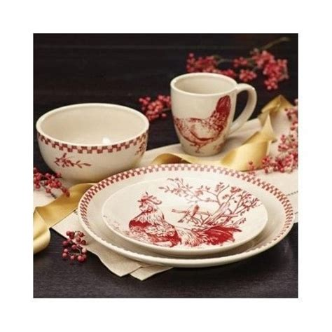 french country dinnerware set  piece red natural rooster hens kitchen table stoneware