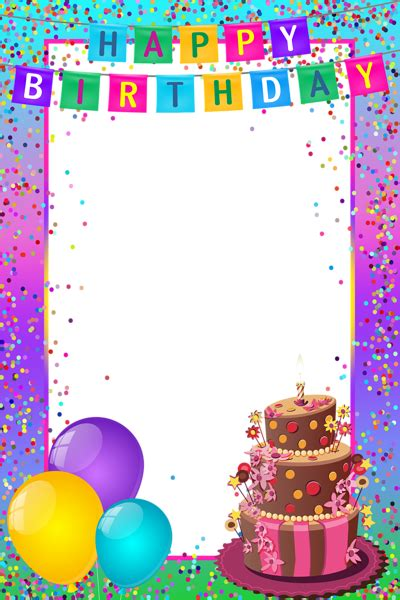 happy birthday png transparent multicolor frame gallery