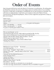 order of wedding reception order of events for wedding dj yes free wedding templates receptions and