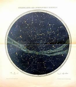 1895 Antique constellation sky chart color by ...