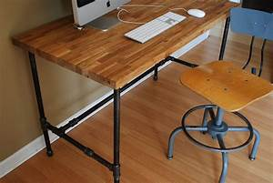 Industrial desk with Oak top and steel pipe legs by