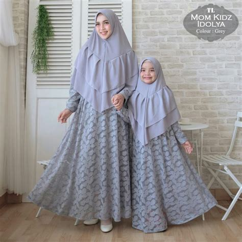 gamis couple brokat mom kid idolya baju muslim pesta