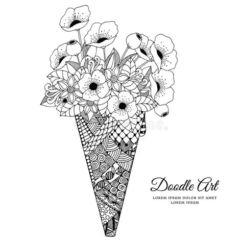 vector illustration zen tangle ice cream  poppies