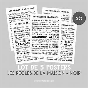 Regle De Vie A La Maison : lot de 5 posters les r gles de la maison islam kariizmaa ~ Dailycaller-alerts.com Idées de Décoration