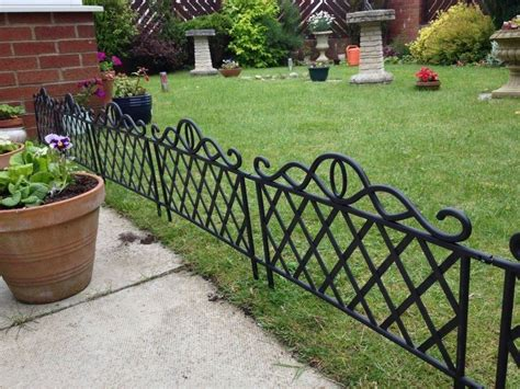 4x Vintage Black Iron Effect Plastic Garden Lawn Edging