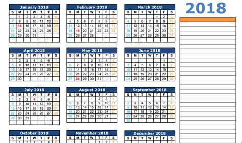 2018 Calendar Template Excel 2018 Calendar Excel Template