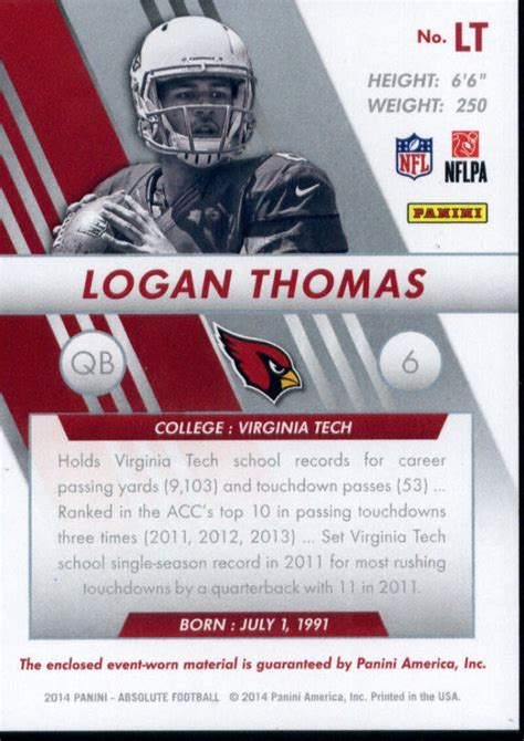 2014 ABSOLUTE ROOKIE JERSEY COLLECTION #LT LOGAN THOMAS ...