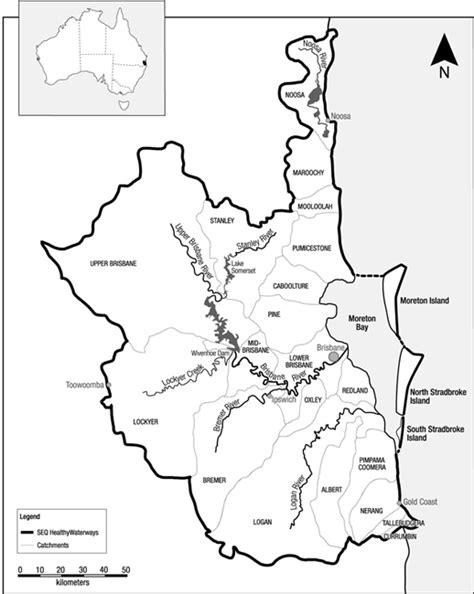 fig  map   southeast queensland region australia