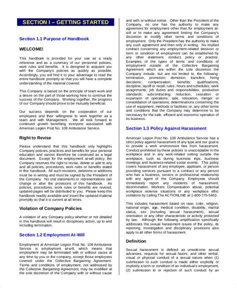 Employees Handbook Free Template by Employee Handbook Template 12 Free Sle Exle