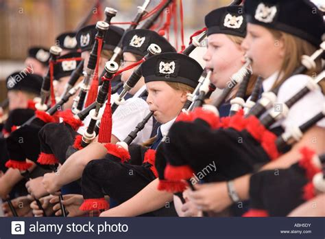 Pipe Band Young Kids Playing The Bagpipes On Annan High
