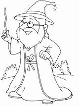 Wizard Cute Coloring Pages Stick Waving sketch template