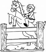 Jumping Fence Horse Coloring sketch template
