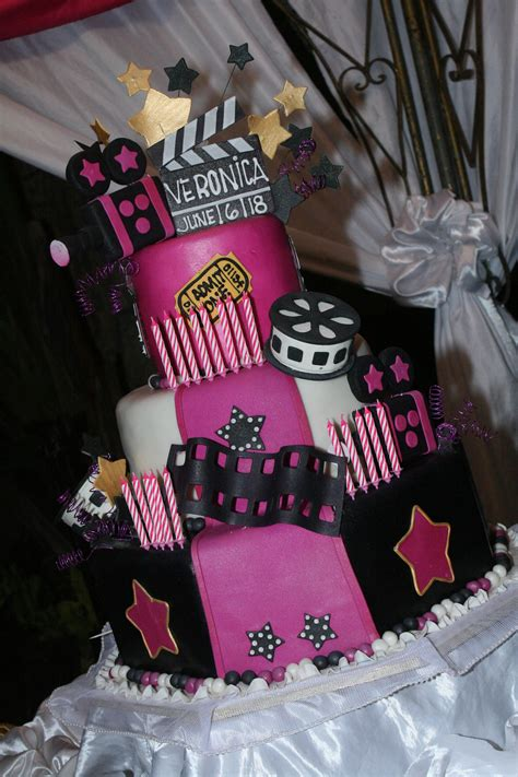 pink hollywood themed cake sweets snacks pinterest