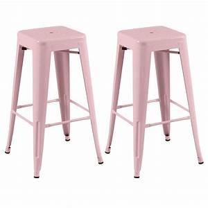 Tabouret De Bar Rose : tabouret de bar en m tal atelier rose lot de 2 koya design ~ Teatrodelosmanantiales.com Idées de Décoration