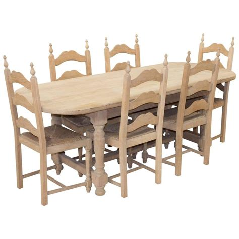 vintage oak oval table and six chairs for sale at