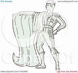 Matador Spanish Line Mono Cape Illustration Clipart Royalty Styled Holding Patrimonio Vector Clip sketch template