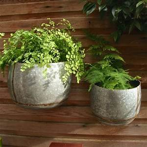 Set Of Two Zinc Bowl Wall Planters By London Garden