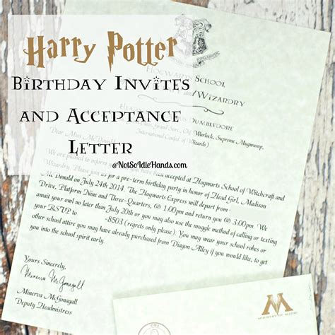 harry potter invitation harry potter birthday invitations and authentic acceptance letter and part 1