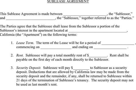 3+ Sublease Agreement Free Download