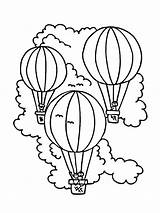 Coloring Balloon Air Pages Vacation Decorated Sky Coloringsky sketch template
