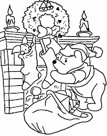Coloring Pages Disney Pooh Fireplace Christmas Winnie