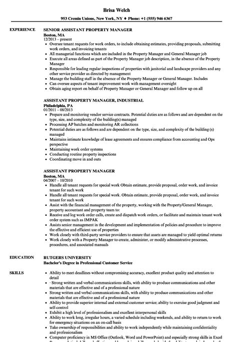 Assistant Property Manager Resume by Assistant Property Manager Resume Sles Velvet