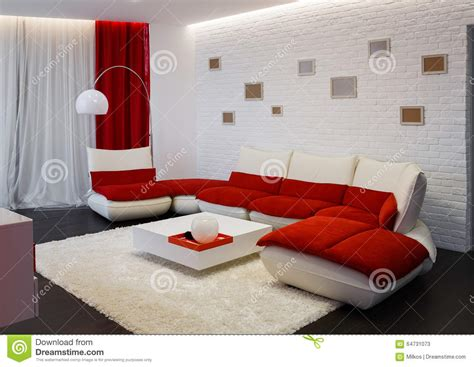 red and white sofa modern living room interior with red sofa stock photo