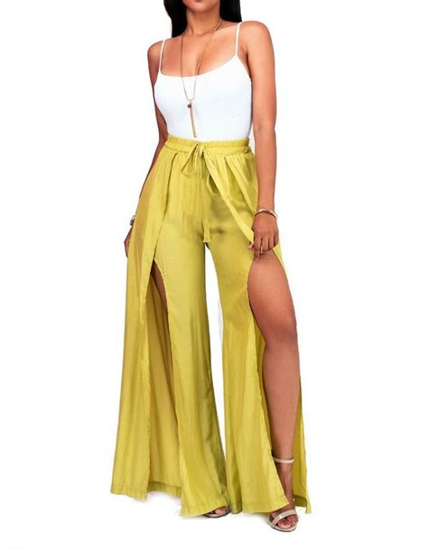 White Cami Top Yellow Wide Leg Side Slit Pants Casual Jumpsuit Outfit | Palazzo pants and ...