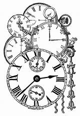Clock Coloring Tattoo Clocks Steampunk Paper Collage Sheet Stamps Sextant Pages Drawings Printable Faces Digital Clipart Stamp Stencil Stencils Decoupage sketch template