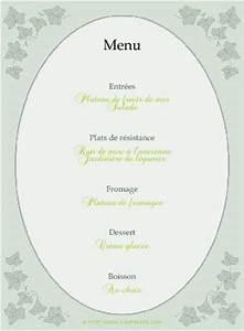 Modele De Menu A Imprimer Gratuit : menu de f te gratuit imprimer lierre a ~ Melissatoandfro.com Idées de Décoration