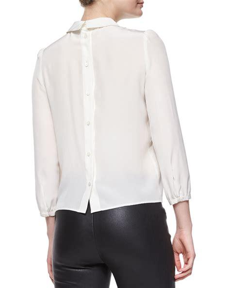 buttoned sleeve t shirt lyst m missoni bracelet sleeve silk button back blouse
