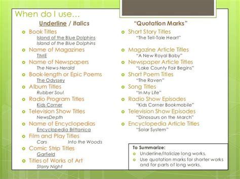10 best titles underlining italics quotation marks