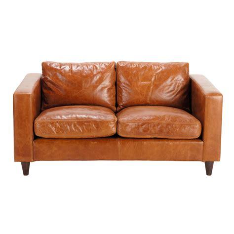 canapé vintage cuir marron canapé vintage 2 places en cuir marron henry maisons du