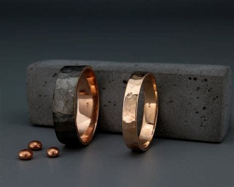 Black And Bright 14k Rose Gold Faceted Wedding Rings Set