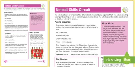 netball skills circuit guidance pe curriculum aims ks2