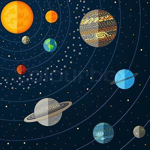 Illustration Of Solar System With Planets  Vector