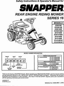 Snapper 250816b User Manual Rear Engine Riding Mower