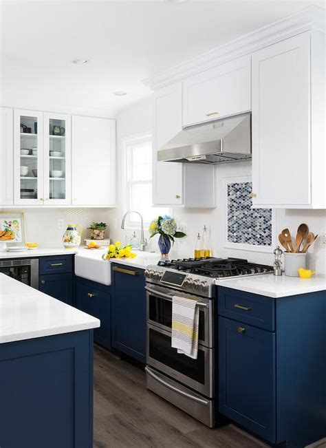navy blue bottom kitchen cabinets white cabinets and brown lower cabinets