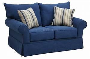 Janley denim loveseat from coleman janley slate living for Red denim sectional sofa