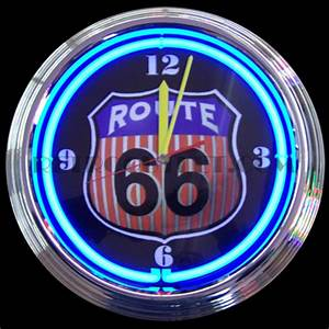 Route 66 Neon Clock Round RetroOutlet