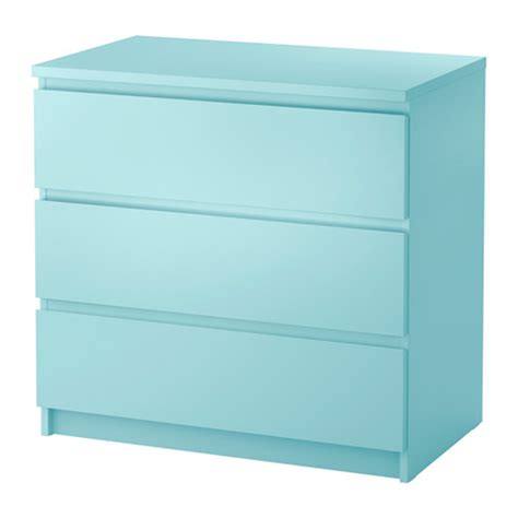 Ikea Malm 6 Drawer Dresser Package Dimensions by Malm 3 Drawer Chest Light Turquoise 31 1 2x30 3 4 Quot Ikea