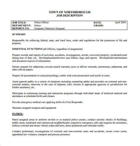 Officer Description Template 11 Officer Description Templates Free Sle