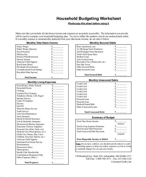 printable budget worksheet sample  examples  word