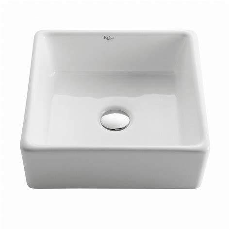 home depot white vessel sink kraus square ceramic vessel bathroom sink in white kcv 120