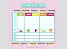 School timetable with fruits Vector Premium Download