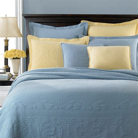 Yellow Quilts And Coverlets by Blue And Yellow Historic Charleston Collection Matelasse